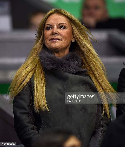 Ulla Sandrock wife of Liverpool's German manager Jurgen Klopp watches her husband's team play during the English League Cup fourth round football...