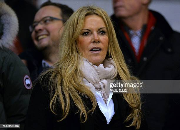 Ulla Sandrock wife of Liverpool's manager Jurgen Klopp is pictured in the crowd ahead of the English League Cup semifinal second leg football match...