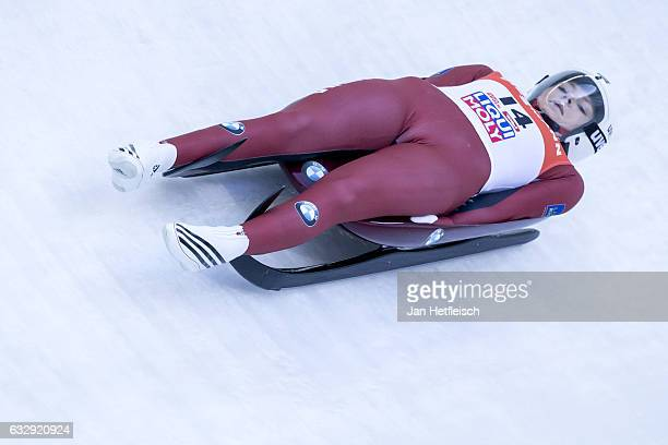 Ulla Zirne of Latvia competes in the first heat of the Women's Luge competition during the second day of the FILWorld Championships at Olympiabobbahn...