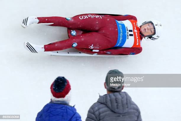 Ulla Zirne of Latvia completes her first run in the Women's competition of the Viessmann FIL Luge World Cup at Lake Placid Olympic Center on December...