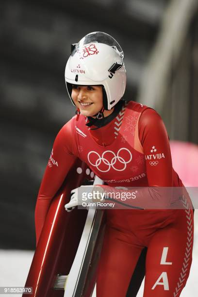 Ulla Zirne of Latvia finishes a run during the Luge Team Relay on day six of the PyeongChang 2018 Winter Olympic Games at Olympic Sliding Centre on...