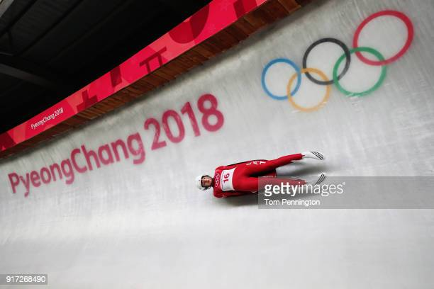 Ulla Zirne of Latvia slides in the Women's Singles Luge run 1 at Olympic Sliding Centre on February 12 2018 in Pyeongchanggun South Korea