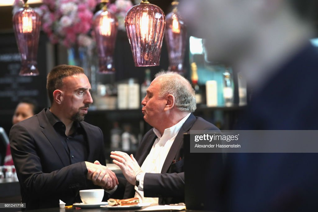 Ulli Hoeness, President of FC Bayern Muenchen arrives with Franck Ribery at Munich international airport 'Franz Josef Strauss' prior their team flight for the UEFA Champions League Round of 16 Second Leg match against Besiktas Istanbul on March 13, 2018 in Munich, Germany.