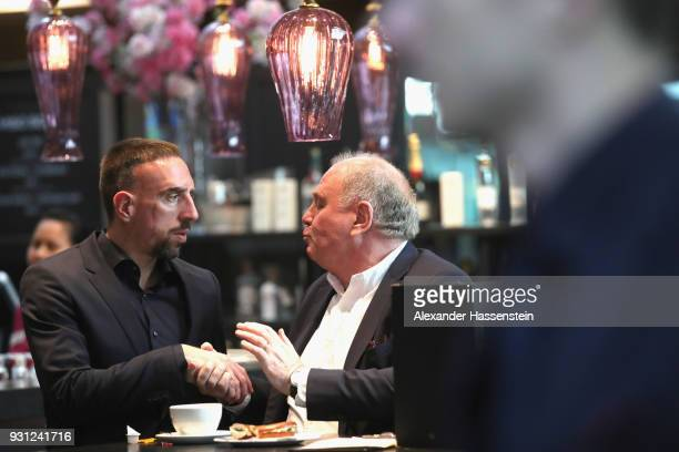 Ulli Hoeness President of FC Bayern Muenchen arrives with Franck Ribery at Munich international airport 'Franz Josef Strauss' prior their team flight...