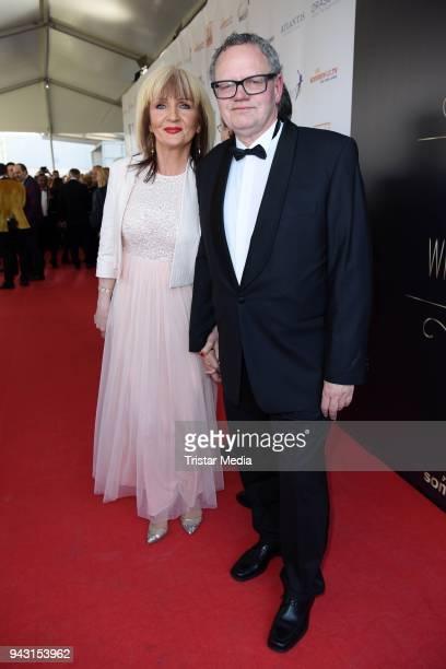 Ulli Potofski and his girlfriend Nadja Nada Bogdanovic attend the 'Goldene Sonne 2018' Award by SonnenklarTV on April 7 2018 in Kalkar Germany