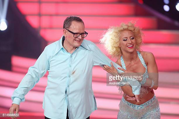 Ulli Potofski and Kathrin Menzinger perform on stage during the 1st show of the television competition 'Let's Dance' on March 11, 2016 in Cologne,...