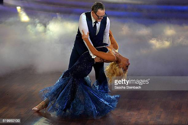 Ulli Potofski and Kathrin Menzinger perform on stage during the 4th show of the television competition 'Let's Dance' at Coloneum on April 8 2016 in...