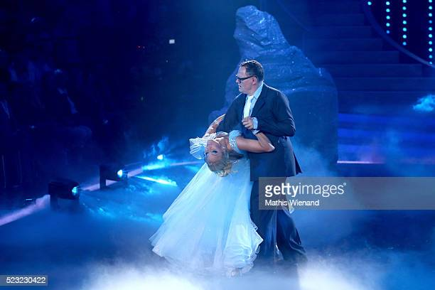 Ulli Potofski and Kathrin Menzinger perform on stage during the 6th show of the television competition 'Let's Dance' on April 22 2016 in Cologne...