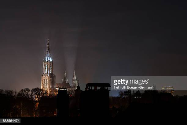 ulm minster at night - ulm stock pictures, royalty-free photos & images