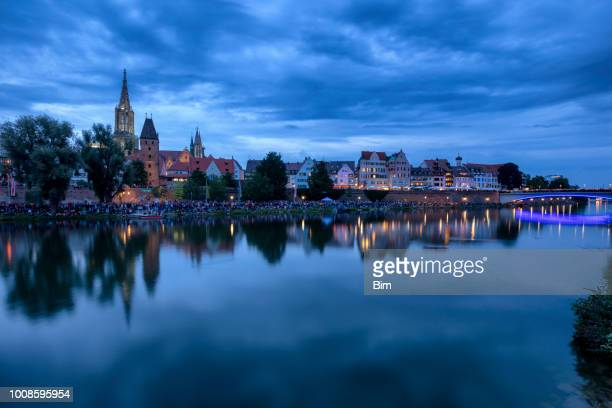 ulm, skyline at night - ulm stock pictures, royalty-free photos & images