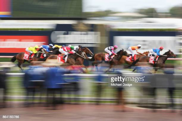 Ulmann ridden by Damian Lane wins the Ladbrokes Moonga Stakes during Melbourne Racing at Caulfield Racecourse on October 21 2017 in Melbourne...