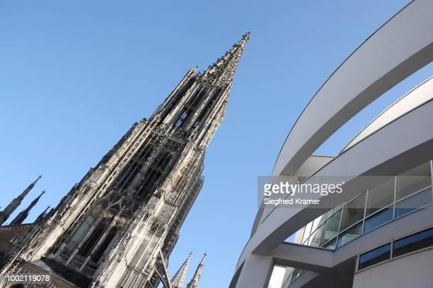 ulmer muenster cathedral and part of the city hally facade, old and new architecture, contrast, muensterplatz square, ulm an der donau, upper swabia, baden-wuerttemberg, germany - ulm stock pictures, royalty-free photos & images