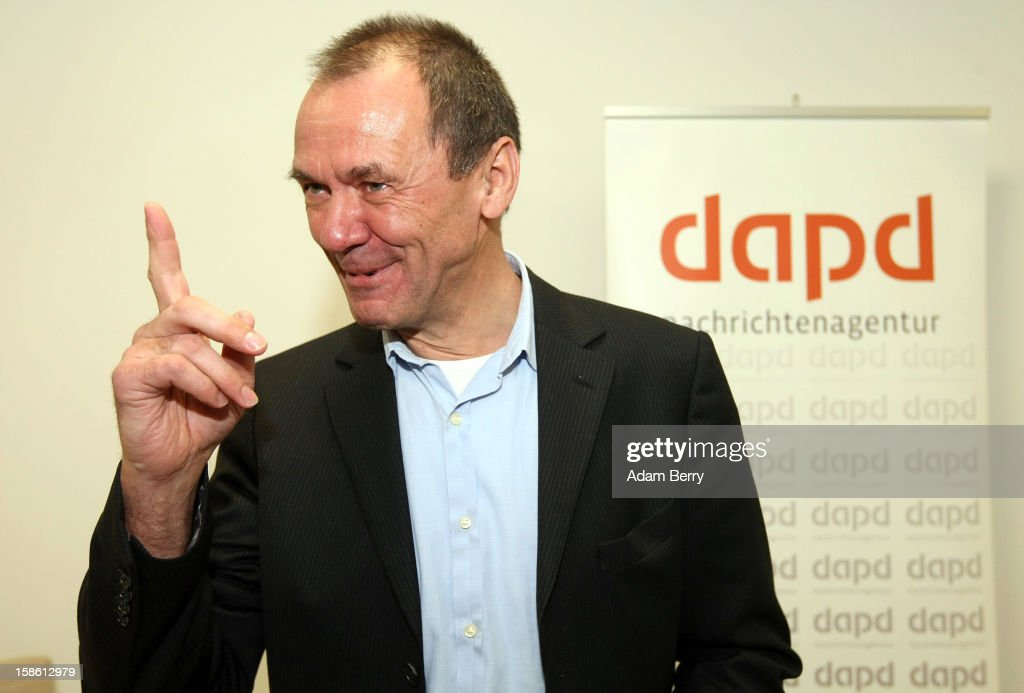 Ulrich Ende, dapd news agency investor and former CEO of NTV N24 television, leaves leaves a news conference on December 21, 2012 in Berlin, Germany. The financial newswire Dow Jones is to replace Associated Press as an international distribution partner for the insolvent news agency dapd. Ende is serving as a new investor in the agency, Germany's second-largest news agency, which declared bankruptcy in October and fired one hundred, or one-third, of its employees the following month.