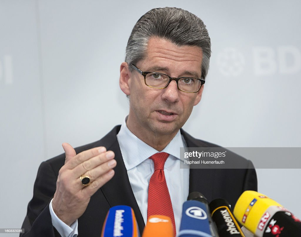 Ulrich Grillo, President of the Federation of German Industries, (Bundesverband der Deutschen Industrie - BDI), speaks during a press conference on January 29, 2013 in Berlin, Germany. The BDI said in a statement that it expected to see growth of 0.8% in Germany in 2013, double the forecast from Germany's central bank in December. The BDI expect an increase in exports outside of Europe to compensate for a drop in exports within the Eurozone.