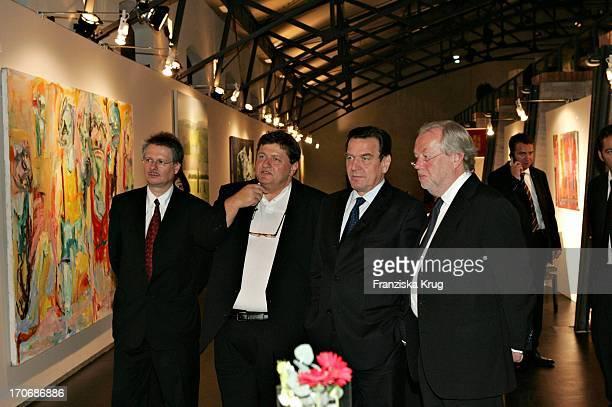 Ulrich Hamann Michael Schultz Bundeskanzler Gerhard Schröder Und Manfred Bissinger Bei Der Feier 125 Jahre Bundesdruckerei In Berlin Am 270904