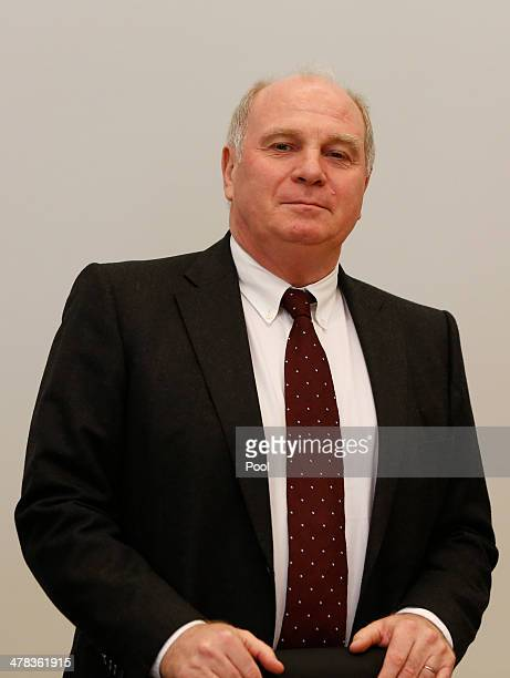 Ulrich Hoeness President of German Bundesliga football club Bayern Munich stands in the courtroom during his trial for tax evasion at the Higher...