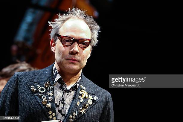Ulrich Hoppe performs on stage during rehearsals for 'The Black Rider' at Schaubuehne am Lehniner Platz Berlin on November 22 2012 in Berlin Germany...