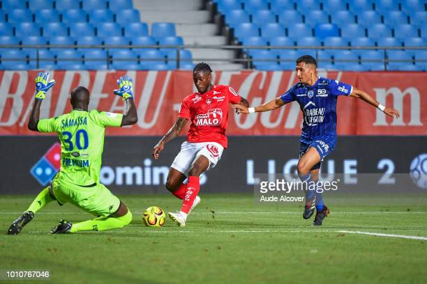 Ulrich Kevin Mayi of Brest and Ahmed Kashi of Troyes during the Ligue 2 match between Troyes and Brest at Stade de l'Aube on August 3 2018 in Troyes...
