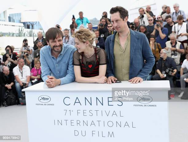 Ulrich Kohler Hans Low and Elena Radonicich attend the 'In My Room' Photocall during the 71st annual Cannes Film Festival at Palais des Festivals on...