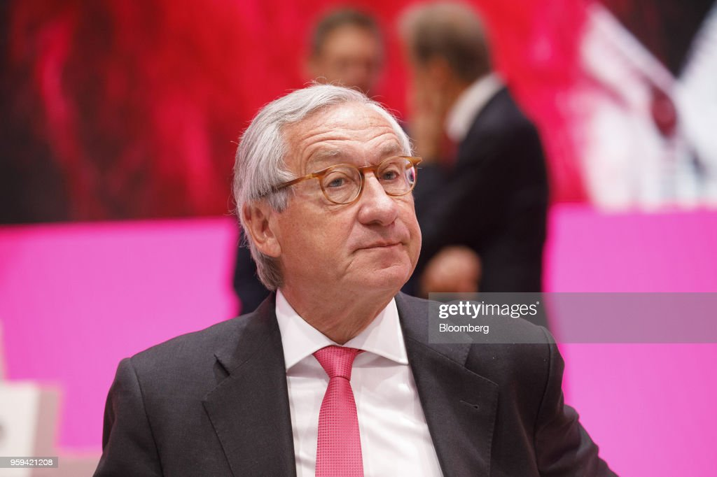 Ulrich Lehner, chairman of Deutsche Telekom AG, looks on during the company's shareholders' meeting in Bonn, Germany, on Thursday, May 17, 2018. Deutsche Telekom and Daimler AG agreed to settle a 14-year-old arbitration case with the German government over the countrys truck toll system with a cash payment of 1.1 billion euros, the Transport Ministry said in a statement. Photographer: Alex Kraus/Bloomberg via Getty Images