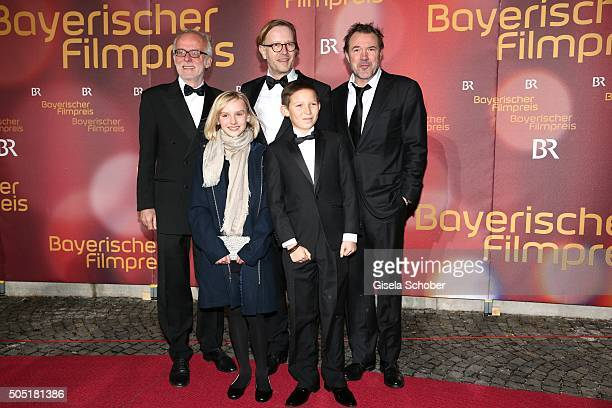 Ulrich Limmer Jule Hermann Kai Wessel Ivo Pietzcker and Sebastian Koch team of the movie 'Nebel im August' during the Bavarian Film Award 2016 at...