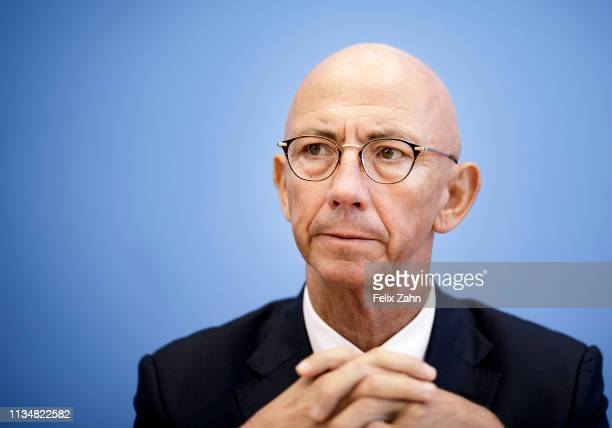 Ulrich Scholten Lord Mayor from Muelheim an der Ruhr is pictured during a press conference on April 04 2019 in Berlin Germany