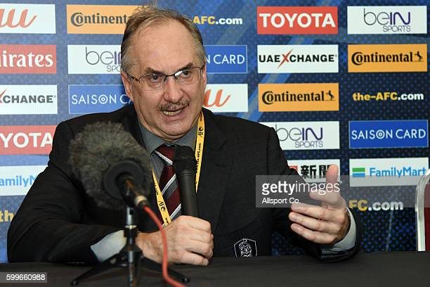 Ulrich Stielike coach of South Korea speaks to the press duiring the post match press conference during the 2018 FIFA World Cup Qualifier Final Round...