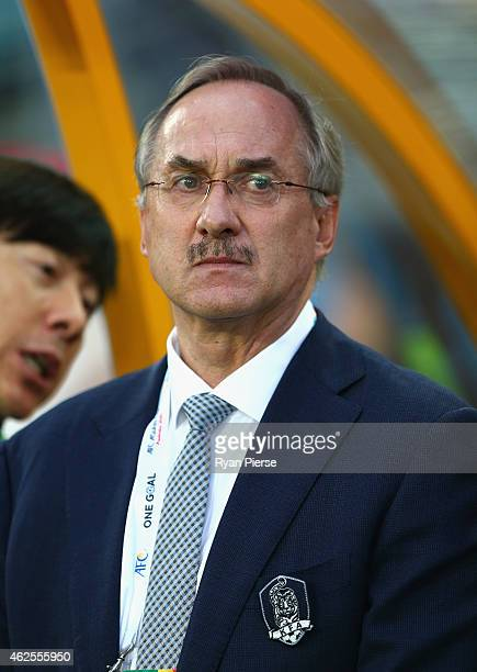 Ulrich Stielike coach of the Korea Republic looks on during the 2015 Asian Cup final match between Korea Republic and the Australian Socceroos at ANZ...