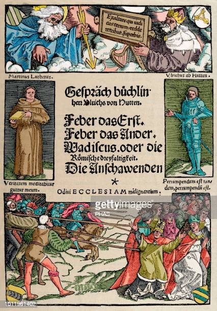 Ulrich von Hutten German writer and theologian Booklet of Conversations Cover Facsimile Engraving in The History of Germany 1882 Colored