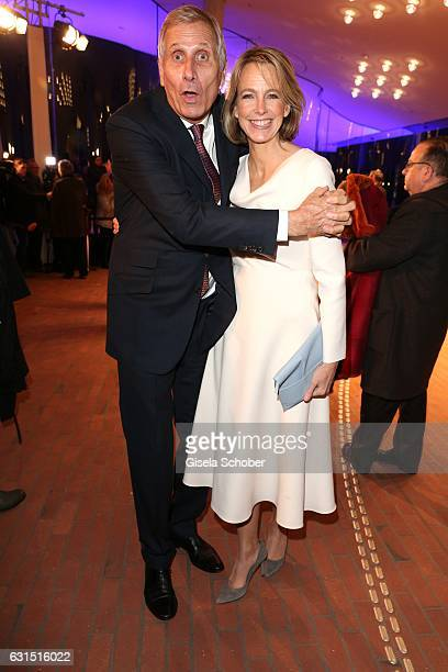 Ulrich Wickert and his wife Julia Jaekel during the opening concert of the Elbphilharmonie concert hall on January 11 2017 in Hamburg Germany