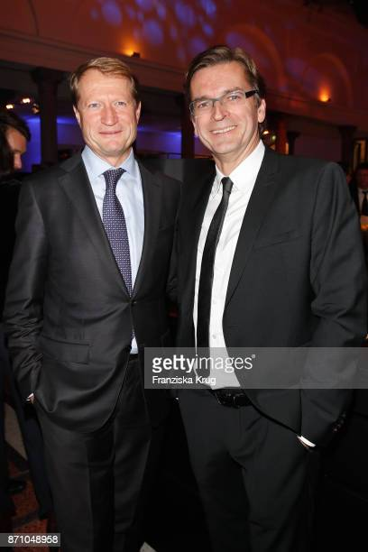 Ulrich Wilhelm and Claus Strunz during the VDZ Publishers' Night at Deutsche Telekom's representative office on November 6 2017 in Berlin Germany