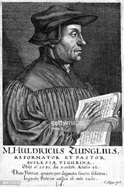 Ulrich Zwingli Swiss Reformation divine Chaplain to Swiss forces during Second War of Kappel when he was killed in battle Copperplate engraving by...