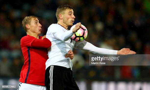 Ulrik Jenssen of Norway and Felix Platte of Germany battle for the ball during the UEFA Under21 Euro 2019 Qualifier match between U21 of Norway and...