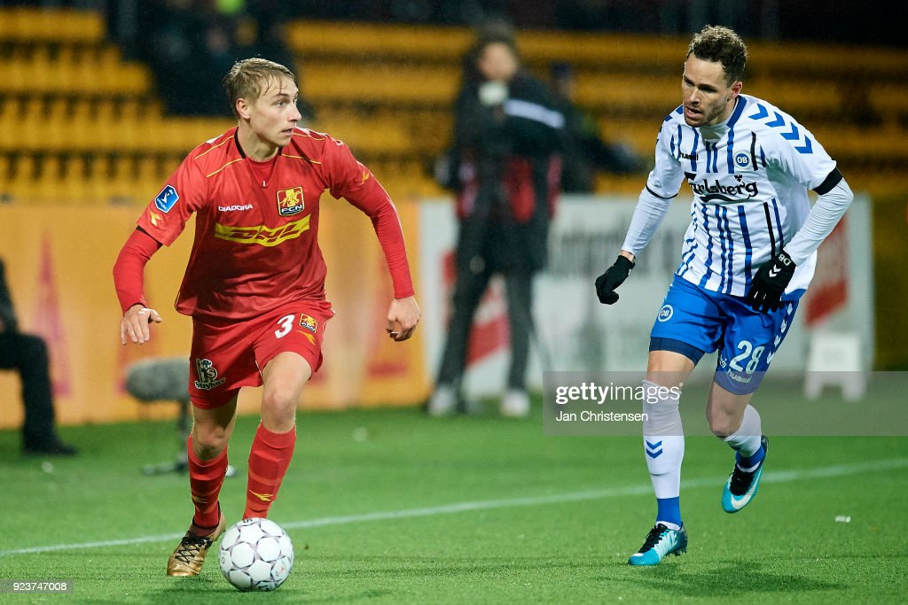 Ulrik Yttergard Jenssen of FC Nordsjalland and Anders K. Jacobsen of OB Odense in action during the Danish Alka Superliga match between FC Nordsjalland and OB Odense at Right to Dream Park on February 16, 2018 in Farum, Denmark.