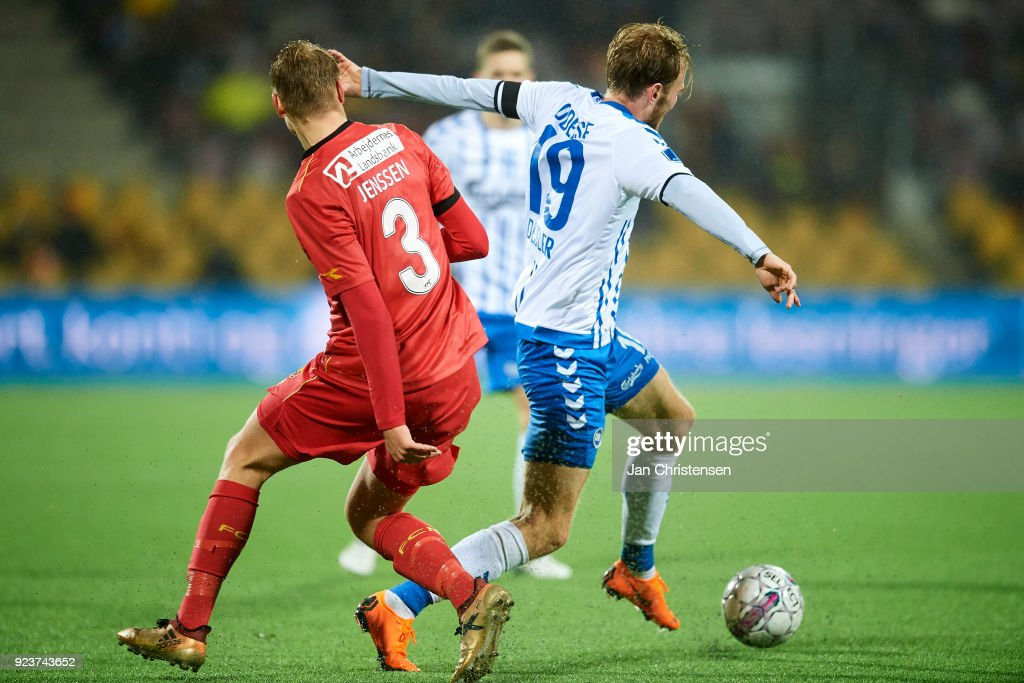 Ulrik Yttergard Jenssen of FC Nordsjalland and Mikkel Desler of OB Odense compete for the ball during the Danish Alka Superliga match between FC Nordsjalland and OB Odense at Right to Dream Park on February 16, 2018 in Farum, Denmark.