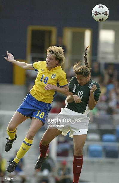 Ulrika Bjorn of Sweden and Jennifer Ruiz of Mexico contest the ball during the opening match of the fifth Australia Cup Womens Soccer International...