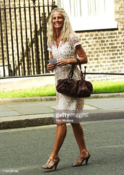 Ulrika Jonsson during First News Launch Reception Outside Arrivals at 11 Downing Street in London Great Britain