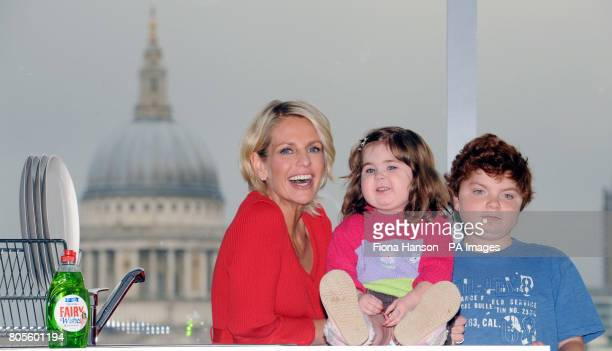 Ulrika Jonsson with Cameron Coxall who suffers from Duchenne Muscular Dystrophy and Holly Chambers four who suffers from Langerhans Cell...