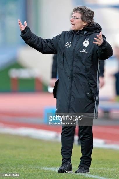 Ulrike Ballweg Head Coach of U17 Girls Germany gestures during UEFA Development Tournament match between U16 Girls Germany and U16 Girls Netherlands...
