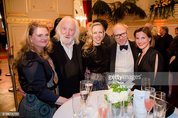 Ulrike Beimpold Karl Merkatz Nino Proll Simon Schwarz and Kristina Sprenger attend Karl Spiehs 85th birthday celebration on March 19 2016 in Vienna...