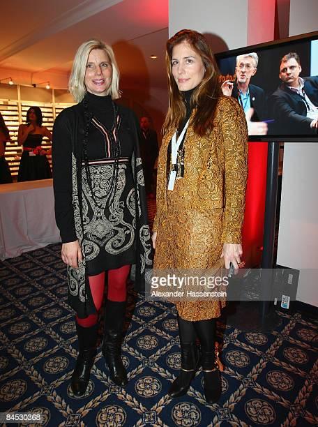 Ulrike Doepfner and Cecilia von Bismarck attend the DLD Nightcap at the Steigenberger Belvedere hotel on January 28 2009 in Davos Switzerland