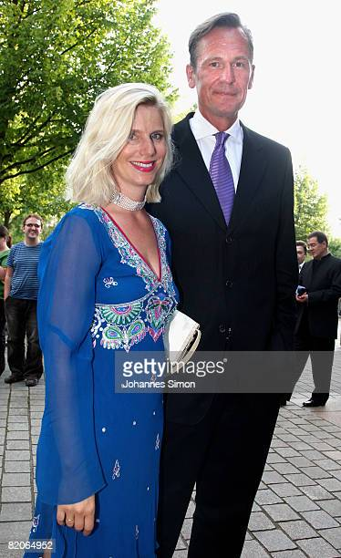 Ulrike Doepfner and Mathias Doepfner arrive for the 'Parsifal' premiere of the Richard Wagner festival on July 25 2008 in Bayreuth Germany