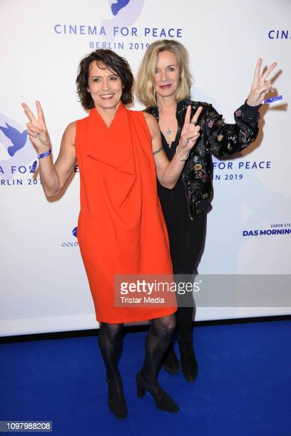 Ulrike Folkerts and her girlfriend Katharina Schnitzler attend the Cinema for Peace gala during 69th Berlinale International Film Festival at WECC...