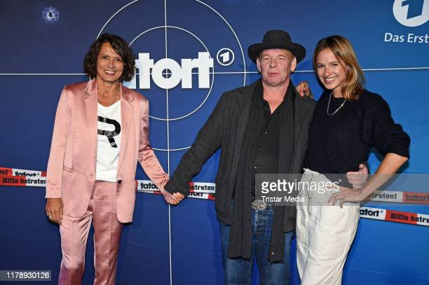 Ulrike Folkerts Ben Becker and Lisa Bitter attend the 30th anniversary of Tatort with Lena Odenthal on October 29 2019 in Berlin Germany