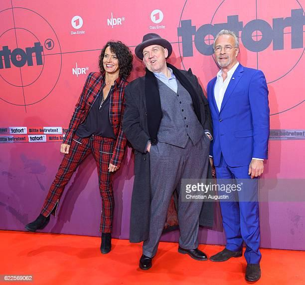 Ulrike Folkerts Dietmar Baer and Klaus J Behrendt attend celebration event of 1000 Episodes of the crime movie 'Tatort' at Cinemaxx Dammtor on...
