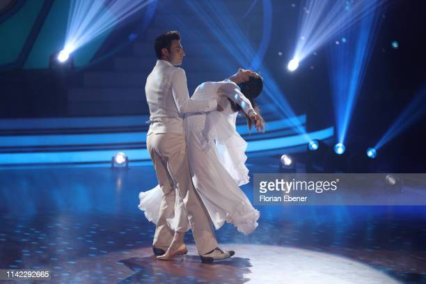 Ulrike Frank and Robert Beitsch perform on stage during the 4th show of the 12th season of the television competition Let's Dance on April 12 2019 in...