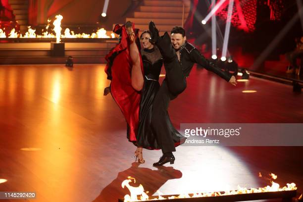 Ulrike Frank and Robert Beitsch perform on stage during the 5th show of the 12th season of the television competition Let's Dance on April 26 2019 in...