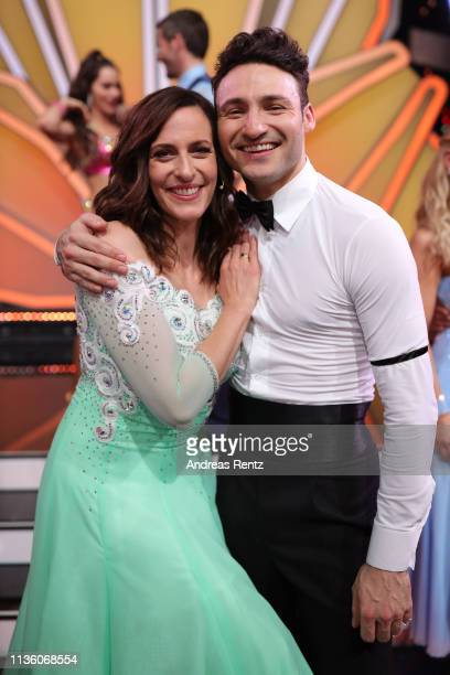 Ulrike Frank and Robert Beitsch pose for a photograph during the preshow Wer tanzt mit wem Die grosse Kennenlernshow of the television competition...