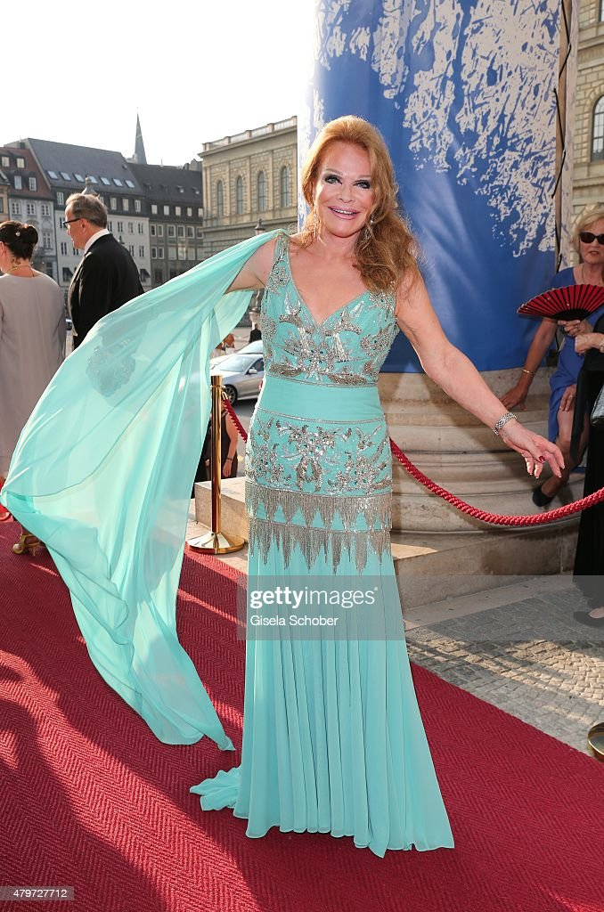 Ulrike Huebner wearing a dress by Brian Rennie during the premiere of the opera 'Arabella' on July 6, 2015 in Munich, Germany.