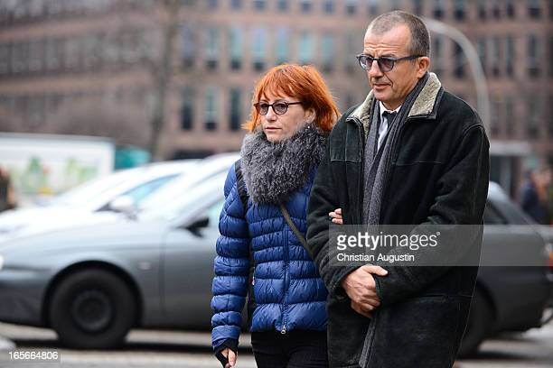 Ulrike Krumbiegel and guest attend Dieter Pfaff's Memorial Service at St Michaelis Kirche on April 5 2013 in Hamburg Germany
